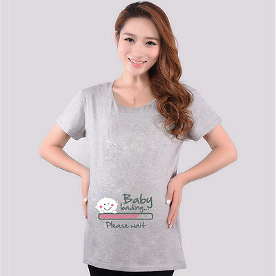 Baby Loading Maternity Pregnancy T-shirt Funny Pregnant Tee Top Baby Shower Gift