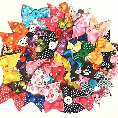 50 DOG COLLAR BOWS ASSORTED COLOUR/SIZE MIX PACK girls boys groomers grooming