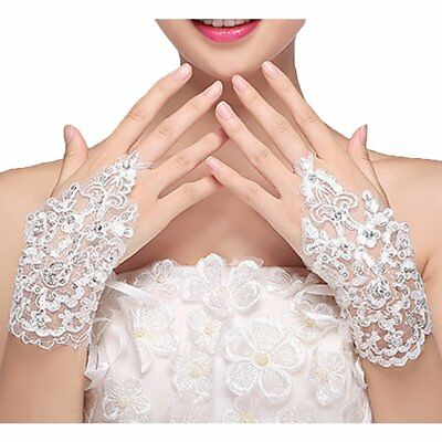 Wedding Bridal Gloves Fingerless Crystal Lace Party Prom New Glove White Pair US