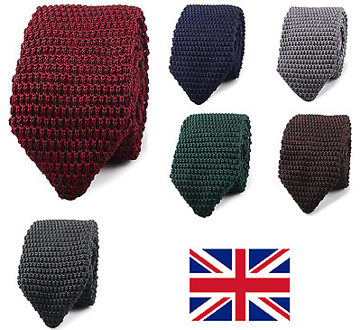 UK High Quality Men's Fashion Tie Knit Knitted Tie Slim Skinny Woven Pointed