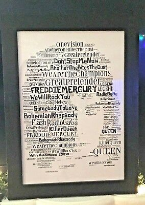 Freddie Mercury Queen Word Art Collectable/Memorabilia/Gift UK Fast Dispatch