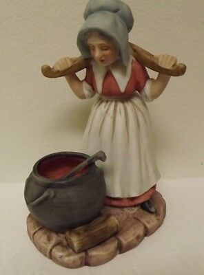Vintage Lefton Old Woman Cooking Over Pot Figurine UX540