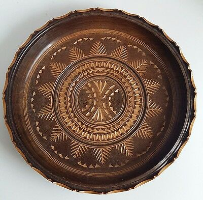 Vintage Wooden Decorative Shallow Bowl/ Plate Chiseled Out Design Beautiful