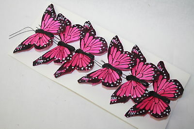 Real Feather Clip on Butterflies - Fuchsia x 6 -  Wedding Party Home Craft