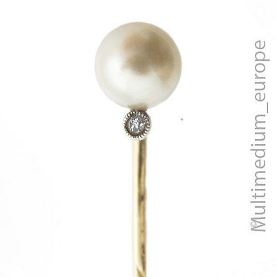 585 Gold Krawatten Nadel mit Perle kleiner Diamant 14ct gold tie pin with pearl