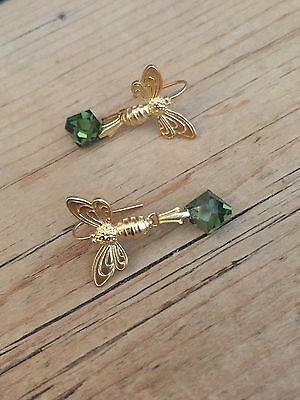 Art Deco vintage style tourmaline Bee 🐝 Gold plated earrings