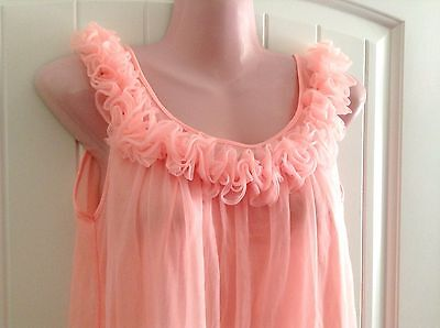 Vintage Peach Chiffon and Nylon Short Nightgown Ruffles Small Made in USA