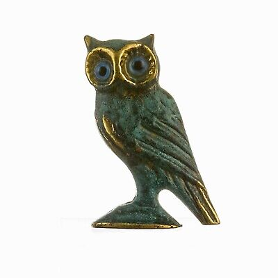 Owl of Athens Wisdom Solid Bronze sculpture Ancient Greek Green-Gold Handmade