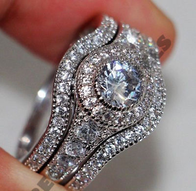 14k white gold over 2 ct d diamond engagement ring wedding band bridal set 3 pcs