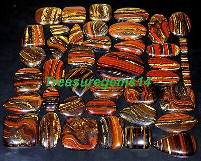 500 Ct Wholesale Lot Natural Red Multi Fire Iron Tiger Eye Cabochon Gemstone Aaa