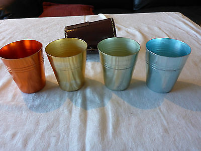Vermont Anodised Tumblers 4X Harlequin Colours In Leather Case Vintage Retro