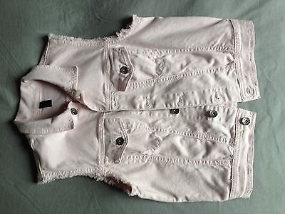 BENETTON gilet giubbotto smanicato jeans sleavless jacket tg S light pink denim