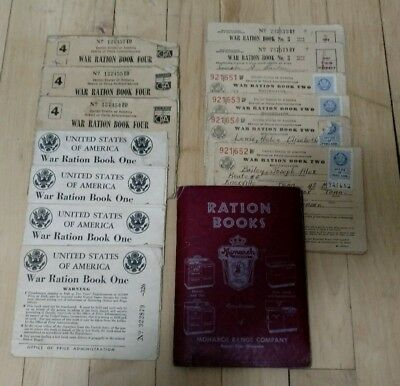 World War 2 WWII  Ration Books 1-2-3-4 Bailey Family Knoxville Tenn. 1942-1944