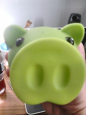 Cute Green Pig Money Box Hard plastic removable snout!