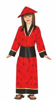 Girls Kids Red Oriental Chinese Fancy Dress Costume Far East China Outfit