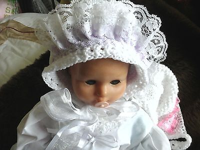 """new hand knitted baby  bonnet white with lilac frill lace newborn baby  size 14"""""""