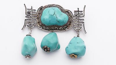 antique old CHINESE TURQUOISE filigree silver vintage BROOCH no pendant Art Deco