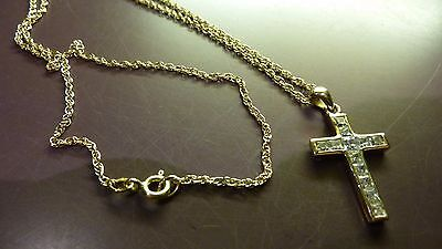 9k 9ct 375 solid GOLD   CHAIN NECKLACE + gold cross pendant