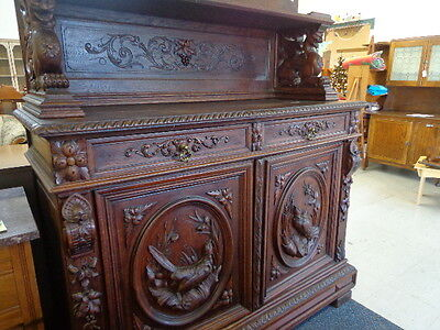 RARE Antique Hunters Sideboard Buffet Cabinet carved birds & griffins Del.Avail