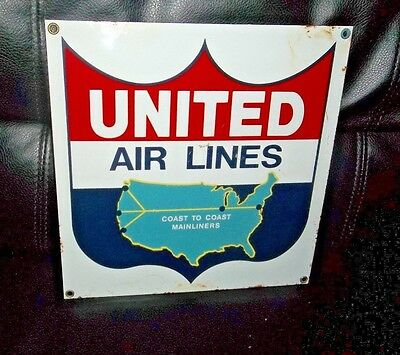 Vintage United Airlines Mainliners Sign Advertising Aviation Decor Free Shipping