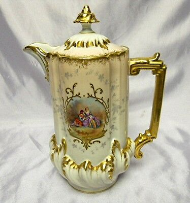 Limoges Chocolate Pot - Scenic Figures - Gilded - Exceptional Condition - Unmked