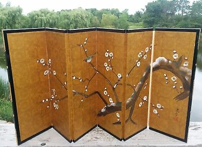 Vintage Japan  Hand Painted Byobu Table Folding Screen SIGNED bird blossoms 3446