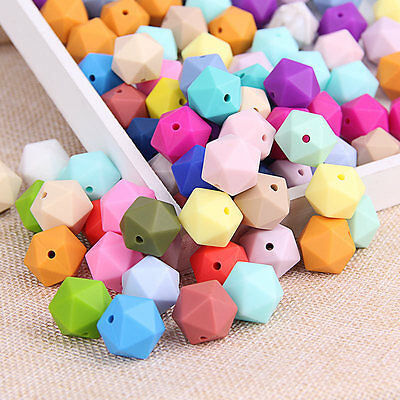 50Pcs Icosahedron Silicone Teething Beads Baby Chewable Necklace Teether Making