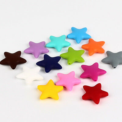 50Pcs Star Silicone Beads Teething Jewelry Pendent Baby Teether Making BPA Free