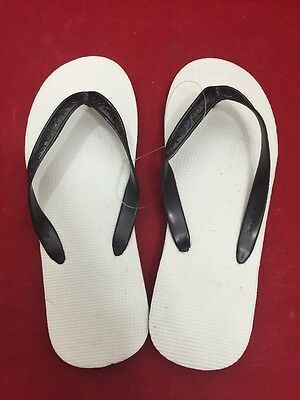 NEW LOT OF 12 PAIRS Rubber Shower Shoes Sandals Flip Flops Large Black/White