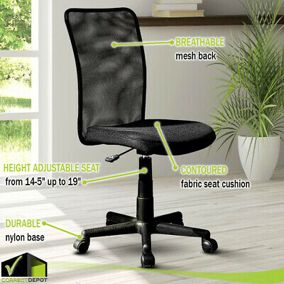 Vinyl Mesh Executive Armless Office Computer Desk Task Chair Padded Seat & Back