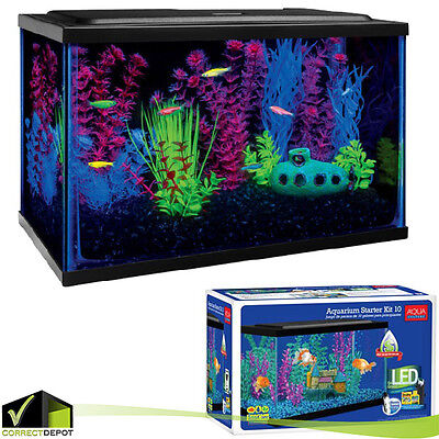 Aquarium Starter Kit Fish Tank 10 Gallon Terrarium Led Light Aqua Culture Filter