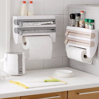 3-in-1 Kitchen Roll Holder Cling Film Paper Towel Foil Dispenser Wall Mounted