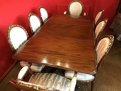 6.2ft GEORGE III STYLE CUBAN MAHOGANY DINING TABLE PRO FRENCH POLISHED
