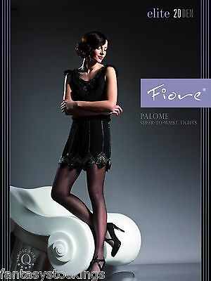 Sheer to waist tights Palome by Fiore 20 den BLACK sheer pantyhose LARGE size