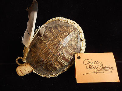 """Native American Turtle Shell Container Vessel Rawhide """"Longbottom"""" Navajo Indian"""