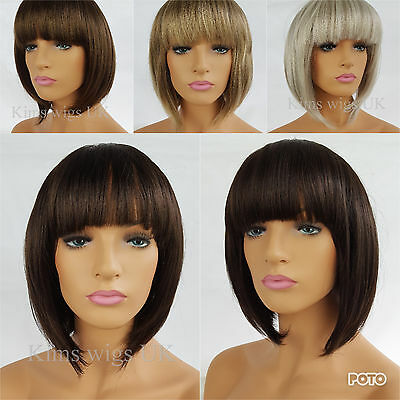 Ladies Bob Wig Womens Short Style Brown Blonde Black Silver Grey B38 Uk Seller
