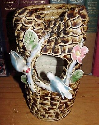 Very Heavy Coiled, Hand Thrown Pottery. Work of Art Birds in Nest, Flower Signed