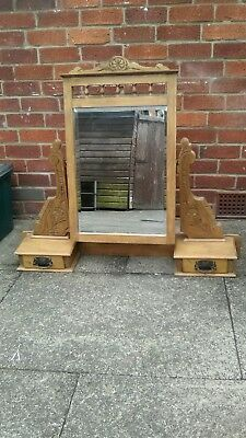 Lovely antique/victorian pine dressing table tilting mirror with 2 drawers. Vgc