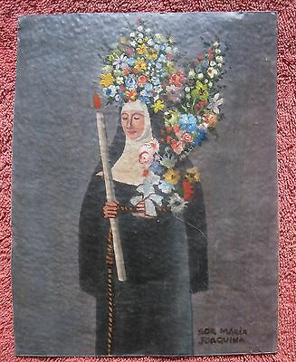 Vintage Oil Painting On Coper Of A Crowned Nun Beautiful Piece Of Art