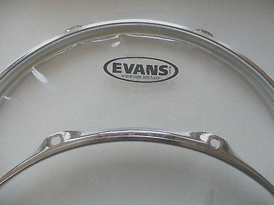 13-Inch 8 Lug Batter & Resonant Drum Hoops Rims + Evans Hazy Snare Side Head