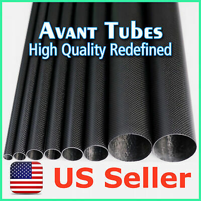 2pcs Matte 50mm OD x 47mm ID x 500mm 3K Roll Carbon Fiber Tube Rod Quadcopter