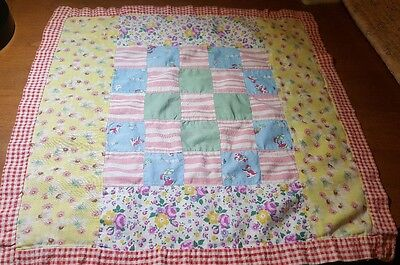 Vintage Doll Quilt 30s 40s Checkerboard Pretty Colors