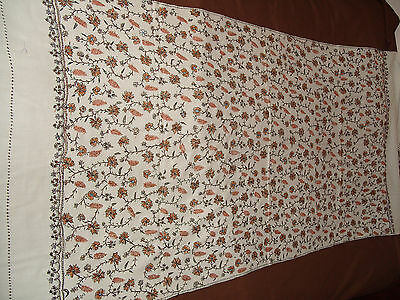 Superb Embroidery Worked Hand Made Woolen Shawl Unused 1960,s