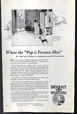 Vintage 1928 BRYANT HEATING Ad w/ BOSTON TERRIER Dog