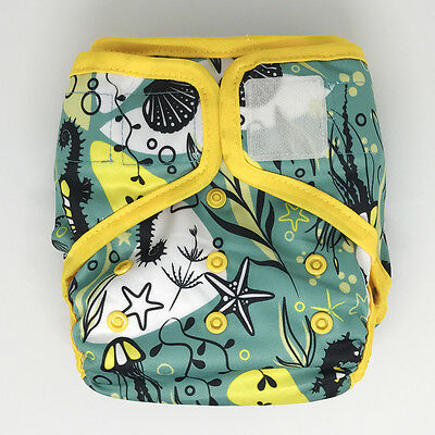 Pre-Owned All-In-Two AI2 Cloth Diaper Cover +2 Inserts, Hook-and-Loop, Seahorse