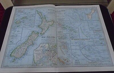 Map 1903 Britannica Islands Of The Pacific Ocean With New Zealand