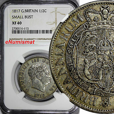 Great Britain George III Silver 1817 1/2 Crown NGC XF40 Smaller Head RARE KM#672
