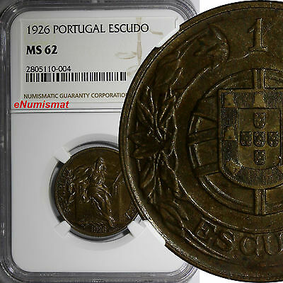 Portugal 1926 Escudo NGC MS62 KEY DATE. HIGH GRADED-  RARE KM# 576