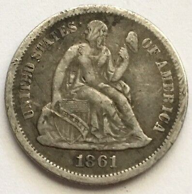 1861-S U.S. Seated Liberty Dime Silver Coin LOW MINTAGE 172,500 (L379)