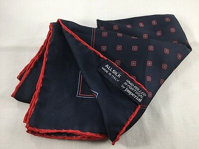 "IMPERIAL Silk Pocket Square Handkerchief ~ 18"" Navy Blue Foulard Red ITALY 2441"